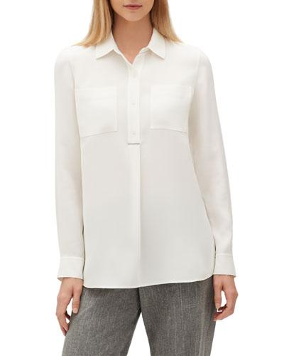 Prianka Silk Quarter-Button Blouse