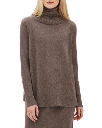 Cashmere Side-Zip Raglan Turtleneck Sweater