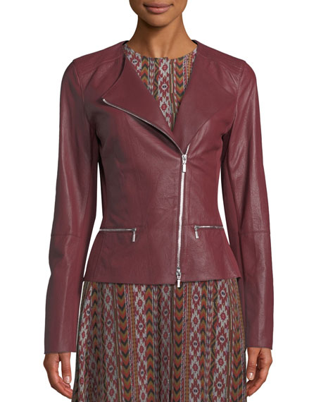 19f6bf7bb8a Plus Size Trista Zip-Front Weathered Lambskin Leather Jacket w  Jersey Combo