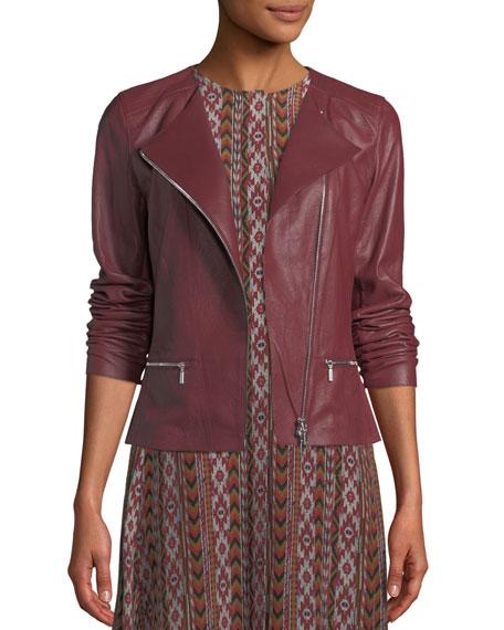 7ff245bea50 Lafayette 148 New York Plus Size Trista Zip-Front Weathered Lambskin Leather  Jacket w  Jersey Combo