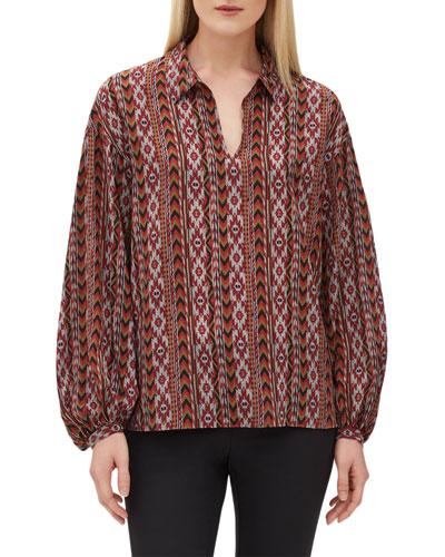 Delora Southwestern-Print Silk Blouse