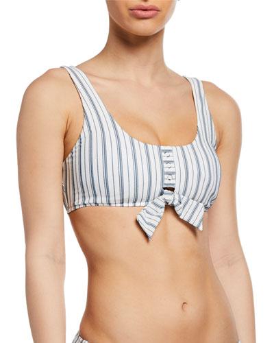 Tie-Front Striped Tank Bikini Top
