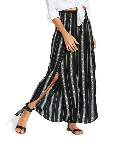 Lattice Stripe Split-Leg Coverup Pants