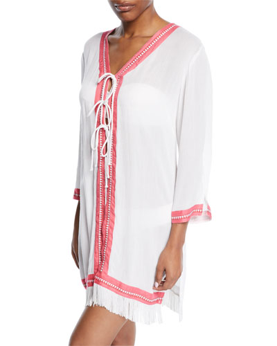 Tie-Front Fringe Coverup Tunic