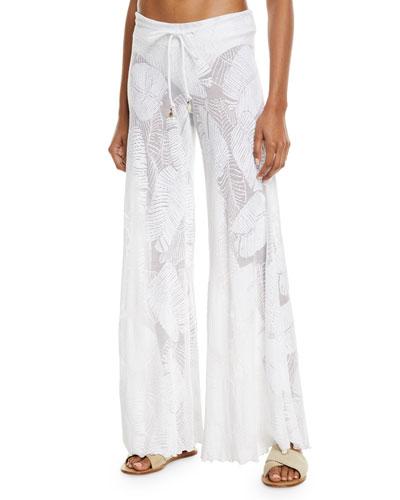 Palm Lace Wide-Leg Coverup Pants