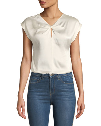 Knot-Front Sleeveless Charmeuse Blouse