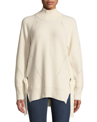 Ribbed Turtleneck Tie Pullover