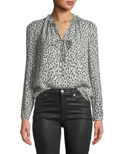 Long-Sleeve Mini Cheetah-Print Silk Top