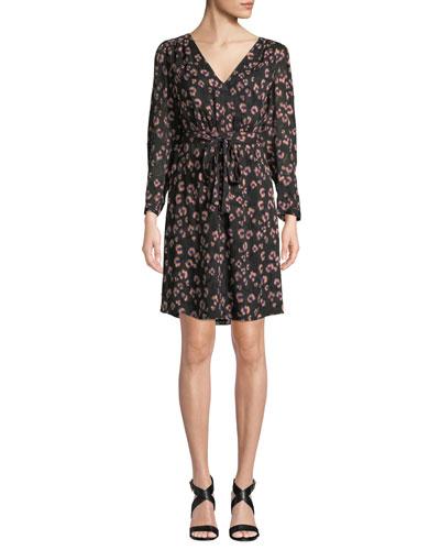 Long-Sleeve Cheetah-Print V-Neck Dress