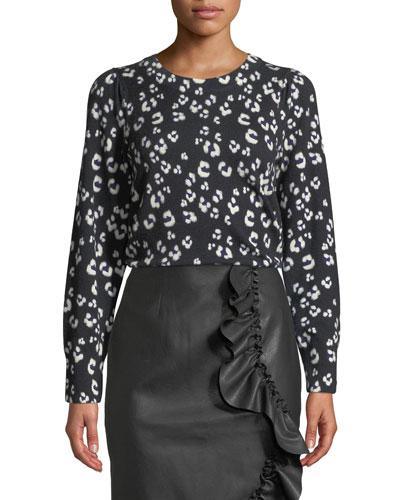 Cheetah-Print Wool Crewneck Pullover Sweater