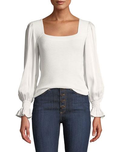 Silk-Sleeve Merino Pullover Sweater