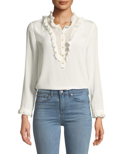 Ruffled Long-Sleeve Button-Front Silk Top