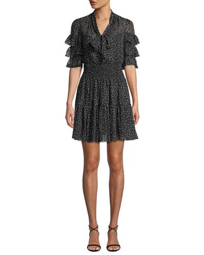 Ruffle-Sleeve Mini Cheetah-Print Tie-Neck Dress
