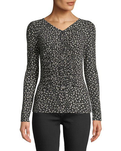 Ruched Cheetah-Print Long-Sleeve Jersey Top