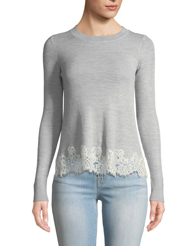Long-Sleeve Lace Combo Pullover Sweater