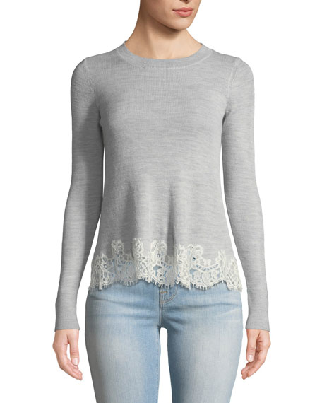 Rebecca Taylor Long-Sleeve Lace Combo Pullover Sweater