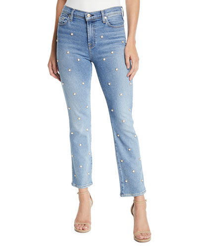 Edie Straight-Leg Pearl Cropped Jeans
