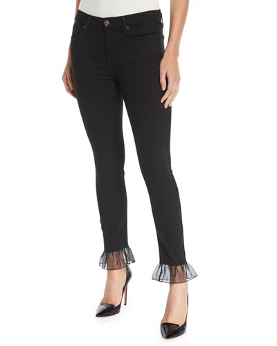 Mid-Rise Ankle Skinny Jeans with Chiffon Cuffs