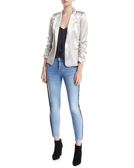 Mid-Rise Ankle Skinny Jeans with Beaded Fringe