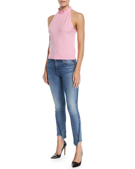 Mid-Rise Twisted Ankle Skinny Jeans with Exposed Seams