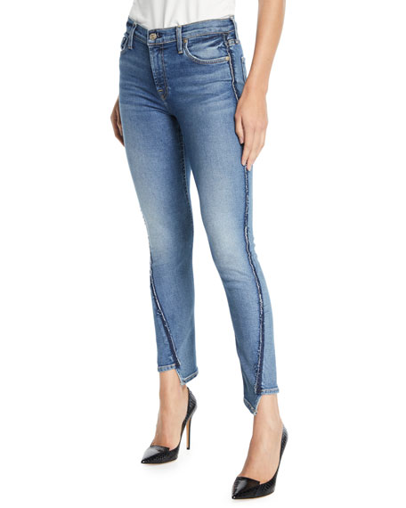 Image 1 of 1: Mid-Rise Twisted Ankle Skinny Jeans with Exposed Seams