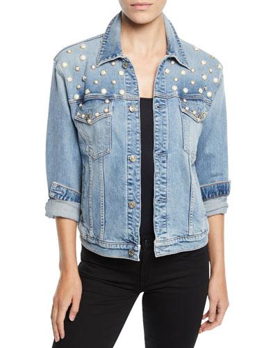 Pearl-Embellished Boyfriend Trucker Denim Jacket