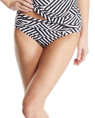 Fractured Stripe Shirred Hipster Bikini Bottoms