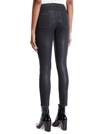 The Ankle Skinny Coated Snake-Print Jeans