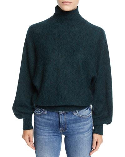 Mock-Neck Wool-Blend Pullover Sweater
