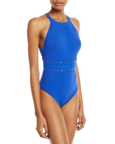 bfb66c22d7 So Sexy Studded High-Neck One-Piece Swimsuit