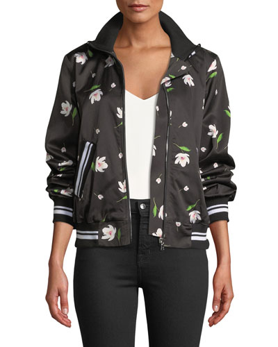Mock-Neck Floral-Print Long-Sleeve Bomber Jacket