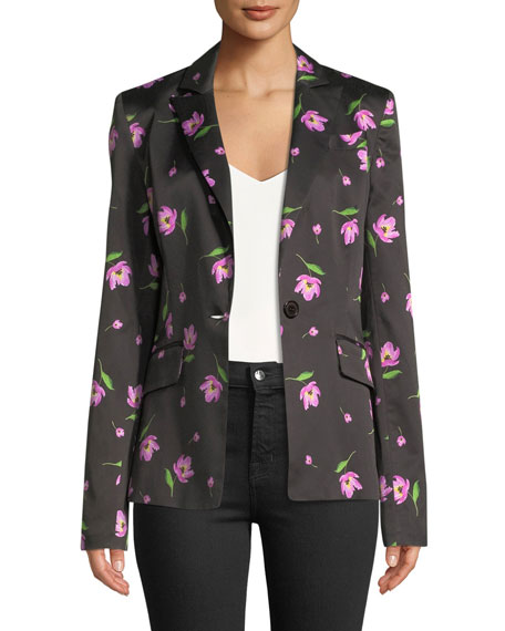 Milly Long-Sleeve Single-Button Floral-Print Blazer