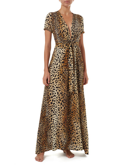 Lou Cheetah-Print Belted Short-Sleeve Maxi Dress in Tan