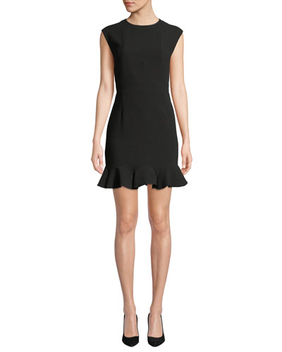 Cap-Sleeve Round-Neck Cocktail Dress