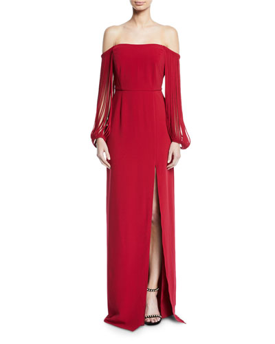 Off-the-Shoulder Stripped-Sleeve Gown