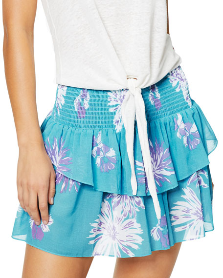 Ramy Brook LUCIA SMOCKED FLORAL-PRINT TIERED MINI SKIRT