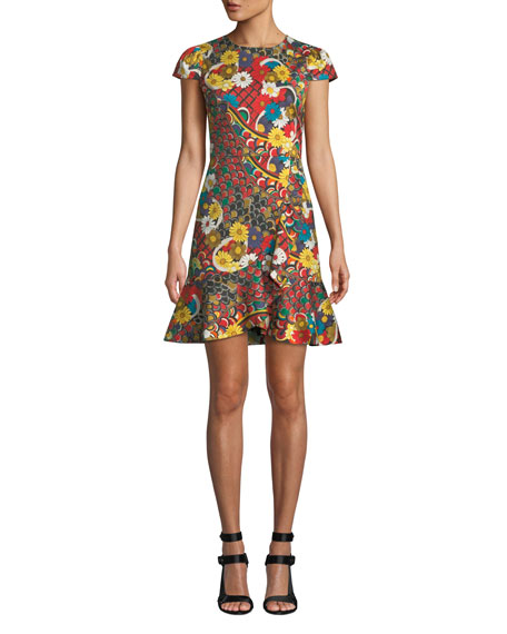 Alice + Olivia Kirby Ruffle Short-Sleeve Dress