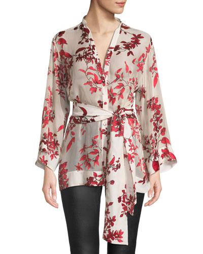 Rosario Tie-Waist Kimono Top