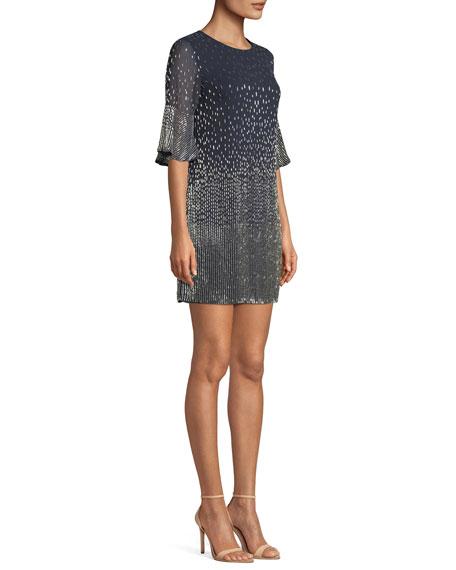 Thym Embellished Shift Trumpet-Sleeve Tunic Dress