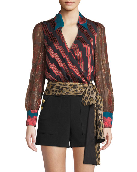 Alice + Olivia Omega Blouson-Sleeve Wrap Top