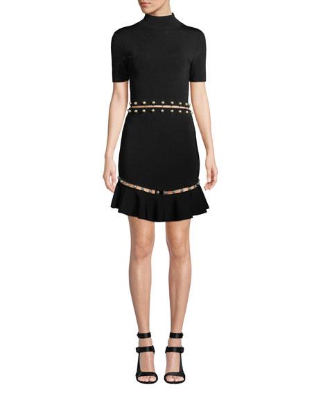 fc500523cf Alice + Olivia Evelyn Mock-Neck Short-Sleeve Fit-and-Flare Dress