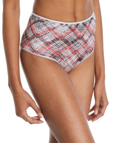 High-Rise Knit Plaid Bikini Bottoms
