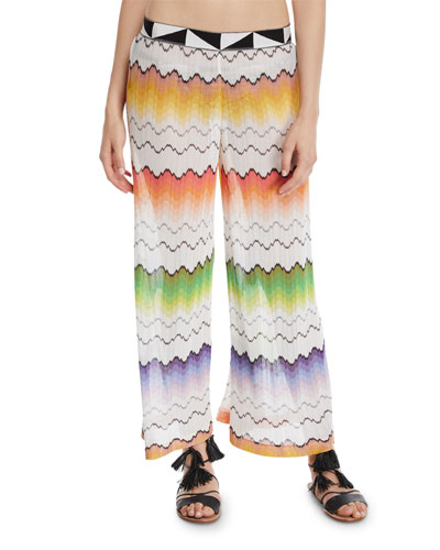 Zigzag Mesh Pull-On Coverup Pants