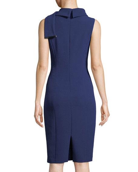 Tie-Neck Sleeveless Stretch Crepe Dress