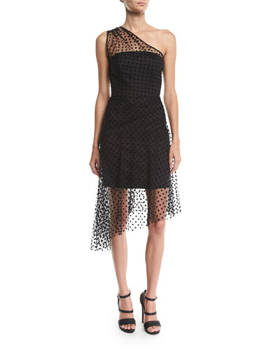 Sonia 1-Shoulder Flocked Dot Tulle Dress