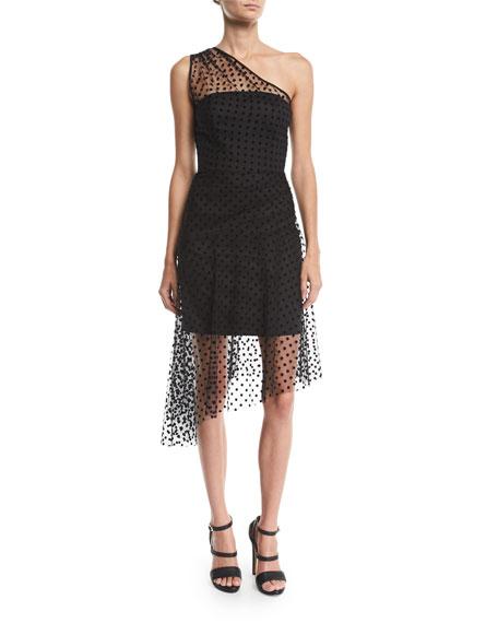 Sonia 1-Shoulder Flocked Dot Tulle Dress