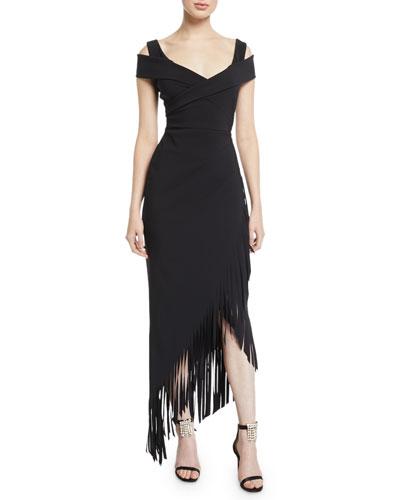 Rhoda Asymmetric Fringe Cold-Shoulder Dress