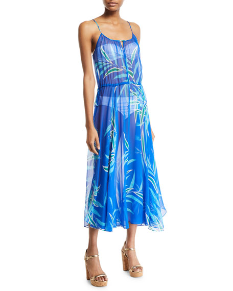 Diane Von Furstenberg FLORAL-PRINT CINCHED-WAIST MAXI DRESS
