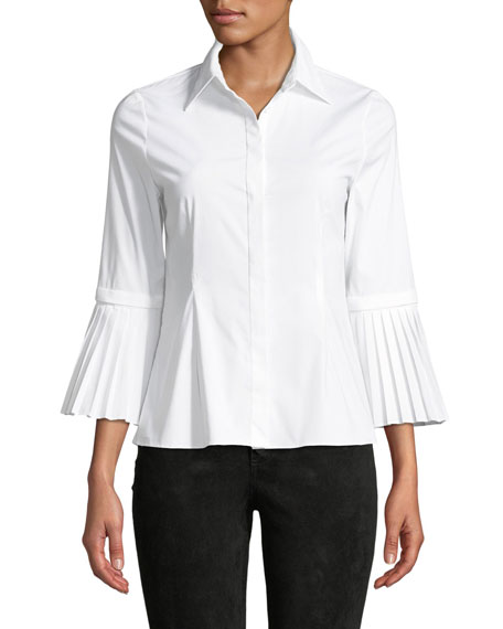 Alice + Olivia Toro Button-Down Top with Removable