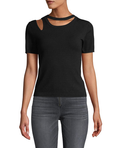 Roslyn Short-Sleeve Cutout Fitted Sweater